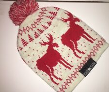 Home Alone Christmas Winter Red & White Reindeer Beanie With Puffball One Size
