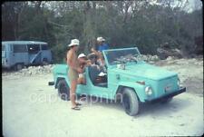 People Party in Volkswagen THE THING Background VW Bus Van Car 1983 Slide Photo