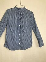 Charter Club Womens Size 6 Blue Floral Long Sleeve Button Up Blouse Top