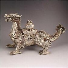 Tibet silver handmade auspicious dragon town curtilage statue