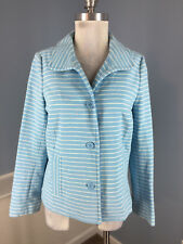 Talbots M Blue White Stripe Blazer Jacket Career Casual Excellent stretch
