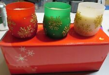 Christmas 3 Pc Avon Sparkling Snowflakes Ice Lights Candles
