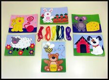 6 Animal Lacing Cards + 6 Tipped Yarn Laces! Great for Fine Motor Skills ABCraft