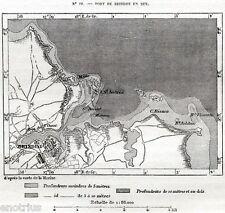 Carta: PORTO di BRINDISI nel 1871.Isola di Sant'Andrea.Puglia.Stampa Antica.1876