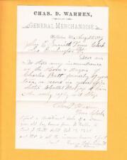 C Warren Merchandise Light Center Fold Williston VT Burlington & Letter 1889 z35