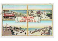 Greetings from Seaside Heights New Jersey Postcard Multi View Boardwalk Skeeball