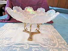 """FENTON LARGE BOWL W/STAND, OPALESCENT, HEAVY, 12"""""""