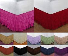 """1 Gypsy Solid Multi Ruffle Dressing Bed Skirt With Platform 20"""" Inch Drop"""