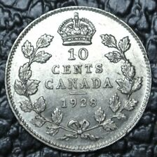OLD CANADIAN COIN 1928 - 10 CENTS - .800 SILVER - George V - Nice DETAILS