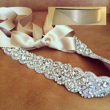 "Wedding Sash Belt, Bridal Sash Belt- Crystal Sash Belt = 19"" long in SILVER sash"