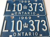 VTG Pair Of 1969 Ontario License Plate L10 373 Canada Crown