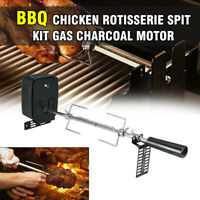 Stainless Steel Grill Rotisserie Spit Roaster Rod Charcoal BBQ Pig Chicken Motor