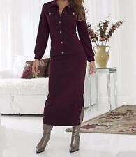 Women's Business office dress denim stretch knit 2PC skirt set&belt suit plus 1X