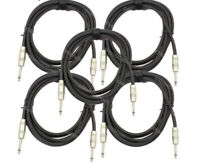"5-Pack Kirlin 10ft 1/4"" Mono Guitar Instrument Cable Cord 20AWG Shielded w/ Tie"
