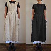 ZANZEA Women's Sleeveless Summer Tank Dress Oversize Plain Midi Dress Sundress