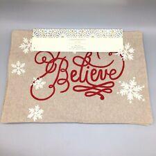 x4 Cynthia Rowley Christmas Believe Snowflake Placemat Set Tan Silver Shimmer