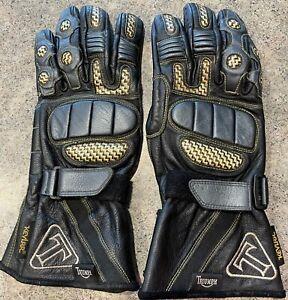 Triumph Motorcycle Riding Gloves Leather Men's Medium Kevlar Black Yellow Nice