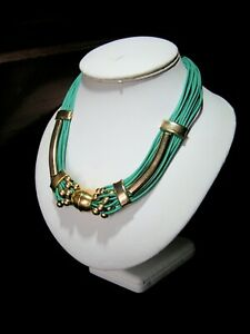 UNKNOWN PERIOD ETHNIC BOHO  EGYPTIAN REVIVAL GREEN & GOLD TONE ORNATE NECKLACE