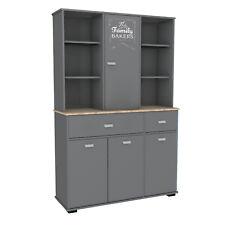 Armario cocina bufe alto 4 puertas y estantes gris grafito con serigrafía