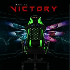 New Everracer Green Office cum Gaming PU Leather Chair with 360 Swivel & Armrest