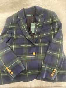 NWT Lauren Ralph Lauren Tartan Plaid Blazer Womens Size 10 Green/Blue $245