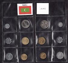 MALDIVE MALDIVES Monete vari tagli Buona condiz.  Turtles Fishes Laari Rufiyaa