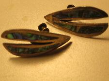 vintage sterling silver art deco screw on earrings colorful