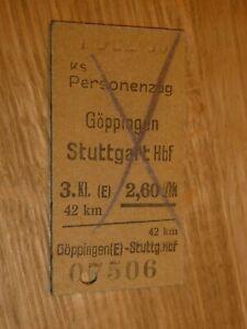 Fahrschein Ticket Göppingen Stuttgart Hauptbahnhof 195ch Kr