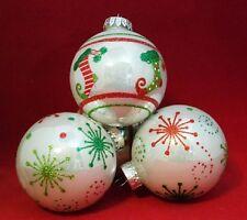 "White Red Green Snowflake Stocking 3"" Ball Glass Ornament Set 4 Kurt Adler Gift"