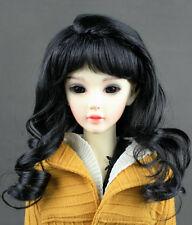"""JD38 6-7"""" Long Black 1/6 Yo-SD BJD Super Dollfie Doll  Wig"""