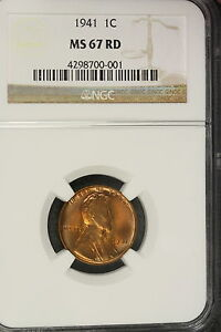 1941 NGC MS67 RED Lincoln Wheat Cent!! #E1724