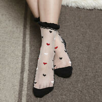 Women's Ultrathin Transparent Breathable Heart Short Crystal Lace Ankle Sock
