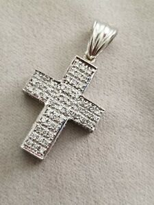 Sonia Bitton Sonia B 14k Pave Diamond White Gold Cross ~ 1.30 tcw