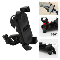 """Universal Motorcycle Bike ATV 4""""-6"""" Cell Phone GPS Mount Holder w/ USB Charger"""