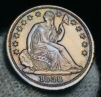 1838 Seated Liberty Half Dime 5C Large Stars AU-MS Grade US Silver Coin CC2561