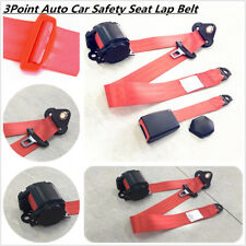 RED 3 Point Seat Belt Seat Lap Belt Kit For Car