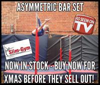 SLIM-GYM PROFESSIONAL FREE STANDING ASYMMETRIC BAR SET & MAT COMBINATION