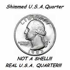 MAGIC TRICK SHIMMED STEEL CORE QUARTER-NOT A SHELL-SHIM COIN ACCESSORY MANY USES