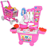 2 IN 1 CHILDREN SHOPPING TROLLEY & KITCHEN SET CART ROLE PLAY PLASTIC FOOD FRUIT