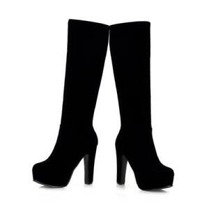 Elegant Women Round Toe High Heel Mid-Calf Knee High Boots Shoes Casual Party D