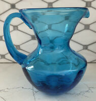 "Art Glass Pitcher Aqua Blue Hand Blown Vintage with Pontil 6"" Midcentury glass"