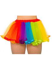 NEON Tutu Gonne Costume Accessorio 80s Nubilato Arcobaleno Multi Colore Nuovo