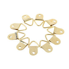 50Pcs 9*20mm D Ring Hooks Golden Brass Triangle Photo Picture Frame Wall MountNI
