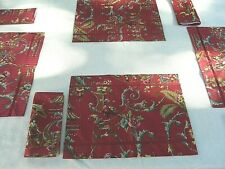 Handmade  set 4 and napkins & reversible placemats designer red Asian fabric
