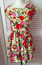 DAHLIA UK & EU LARGE BEAUTIFUL YELLOW 50S STYLE FIT AND FLARE FLORAL DRESS