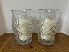 New Listing2 Galway Matching Crystal Hurricane Lamps Candle Holders Detachable Base Candles