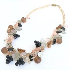 Vintage Fruit Salad Glass Necklace Frosted Leaves Grape Clusters Colorful