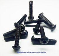 ISO 7380 10 Stück Linsenkopfschraube M4x10mm schwarz Stahl hochfest 10.9