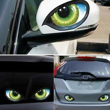 1 Pair Cool 3D Mysterious Cat Eyes Car Sticker | Green Evil Window Mirror Decal