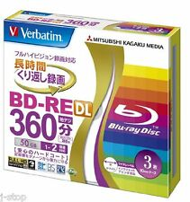 3 Verbatim BD-RE DL 50GB 2x Speed Bluray Inkjet Printable Rewritable Blank Media